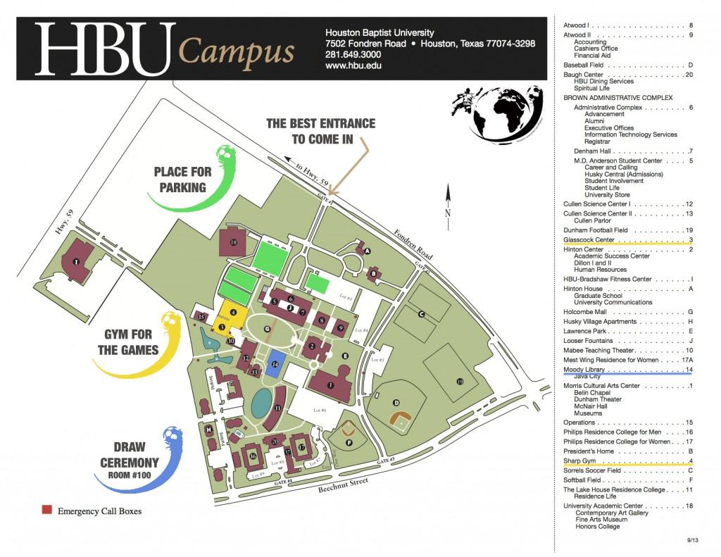 Houston Baptist University Campus Map Map Of Us Western States